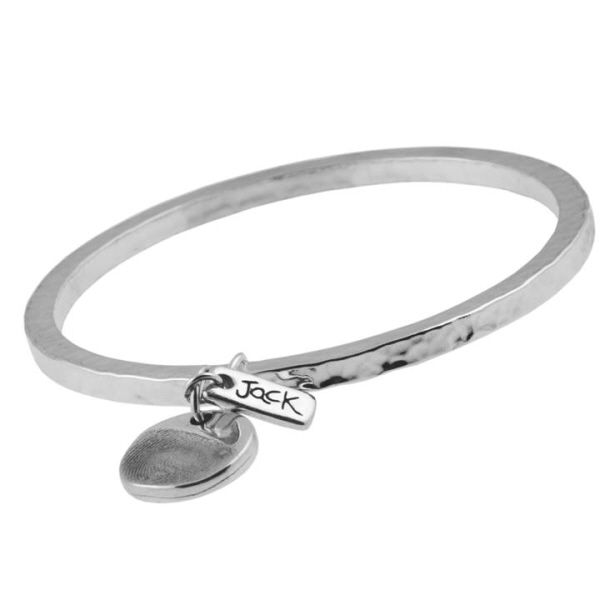 Circle Partial Fingerprint Charm, Rectangle Tag And Large Hammered Bangle