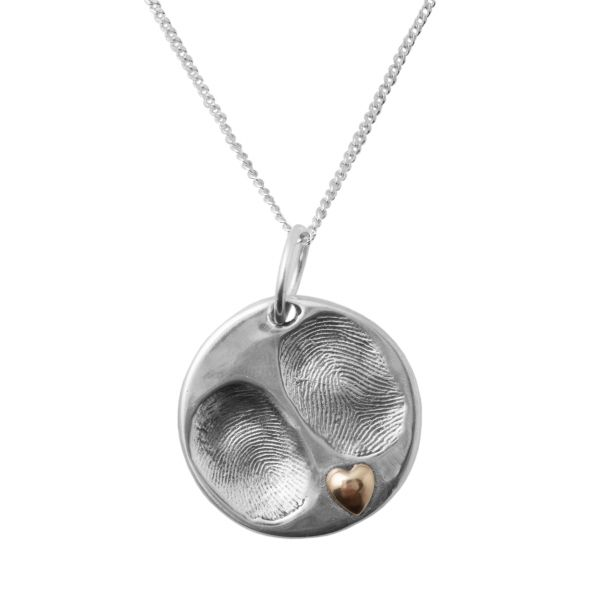 Gold Heart Fingerprint Necklace