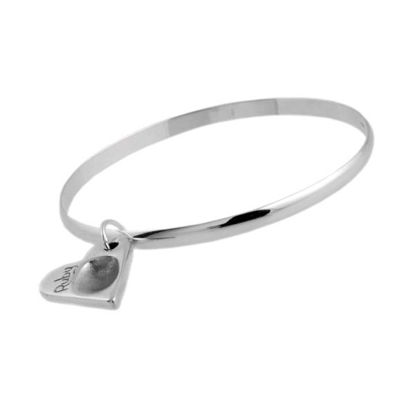 Heart Fingerprint Charm And Medium Smooth Finish Bangle