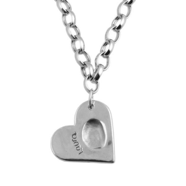 Large Fingerprint Heart Belcher Necklace