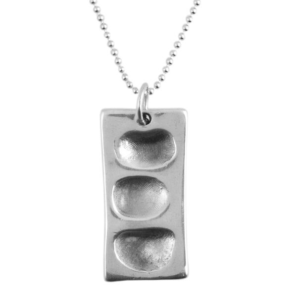 Rectangle Fingerprint Dog Tag And Ball Chain
