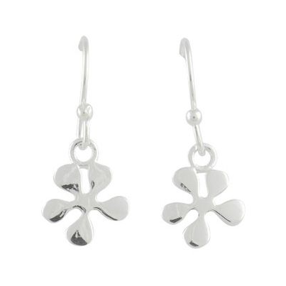 Silver Dangle Flower Earrings