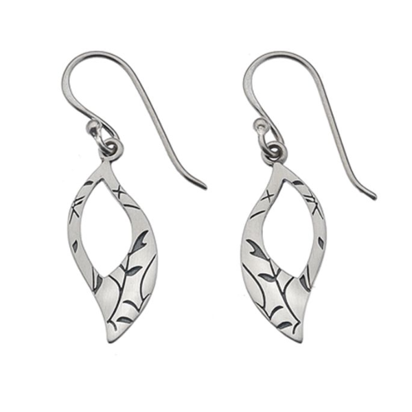 Silver Patterned Leaf Earrings