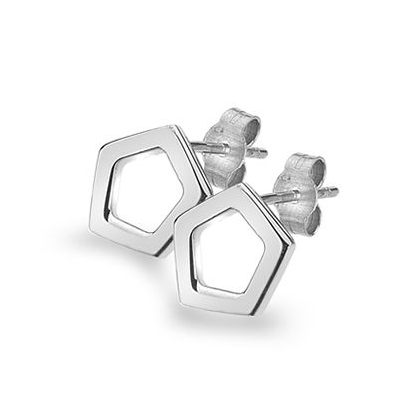 Silver Pentagon Earrings